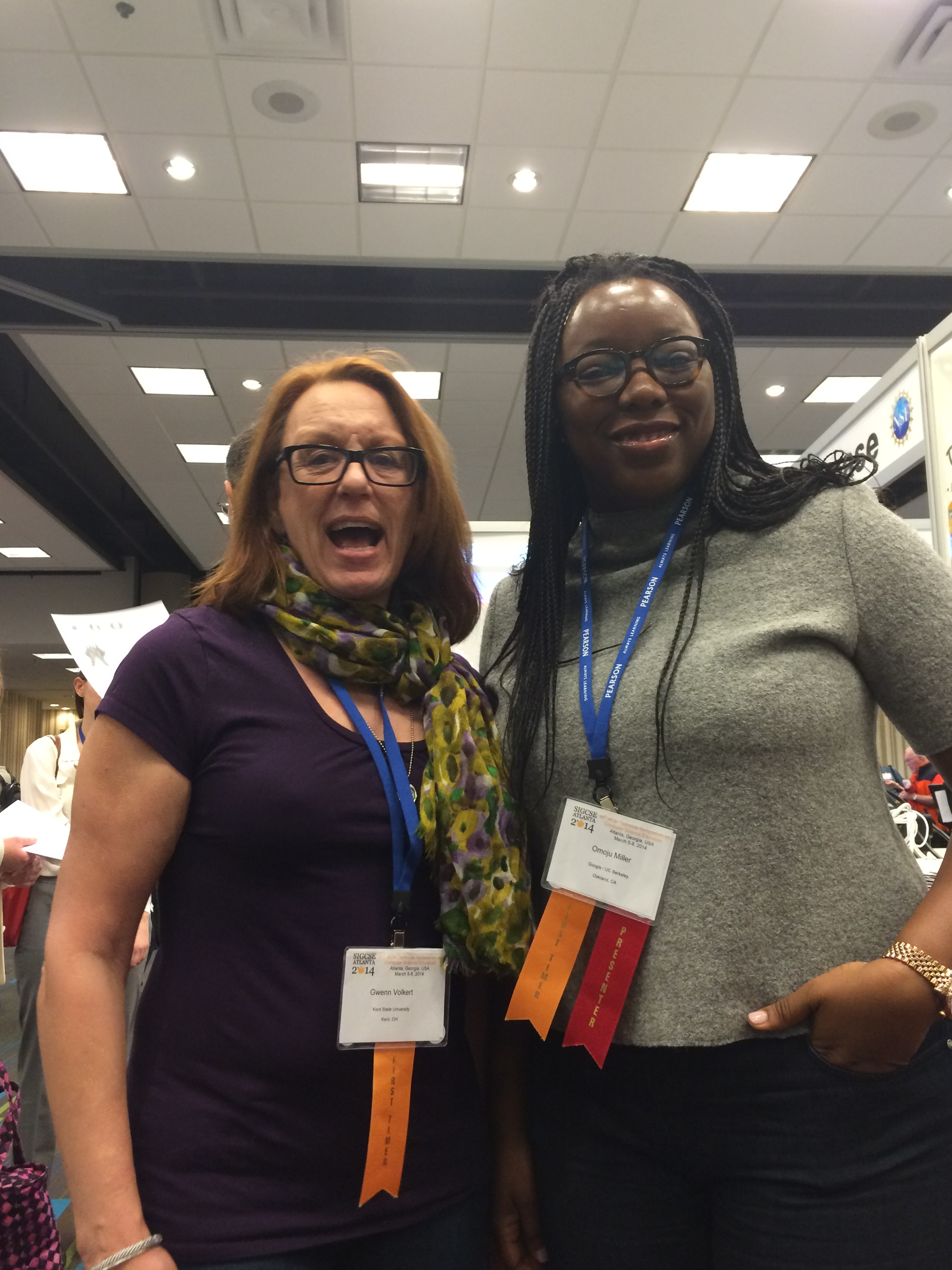 Omoju reuniting with Gwenn Volkert at SIGCSE 2014, after 15 years.